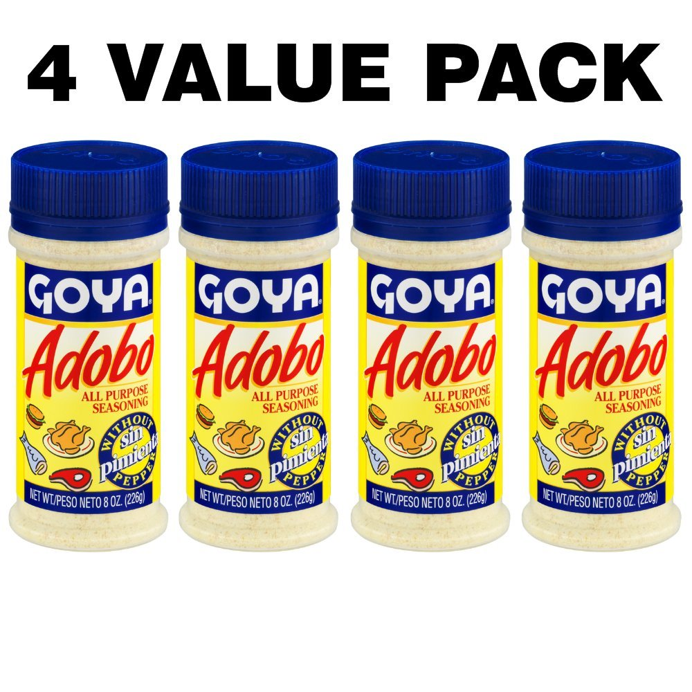 Goya Adobo All Purpose Seasoning without Pepper, 8.0 OZ (4 VALUE PACK)