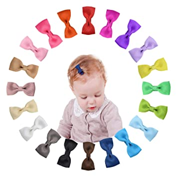 Shemay Tiny 2 Inches Hair Bows Fully Covered Hair Clips For Baby Girls Toddlers