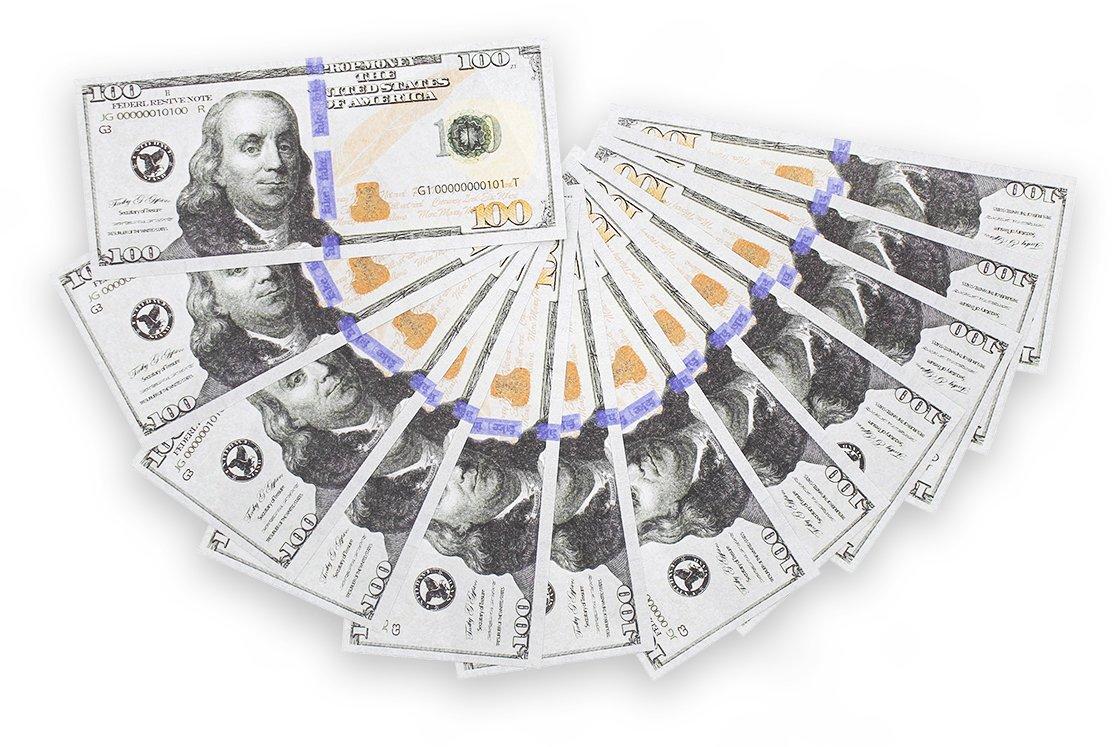 10,000 US Dollar Spielgeld Geldscheine - 100 mal $ 100 Scheine Prop ...