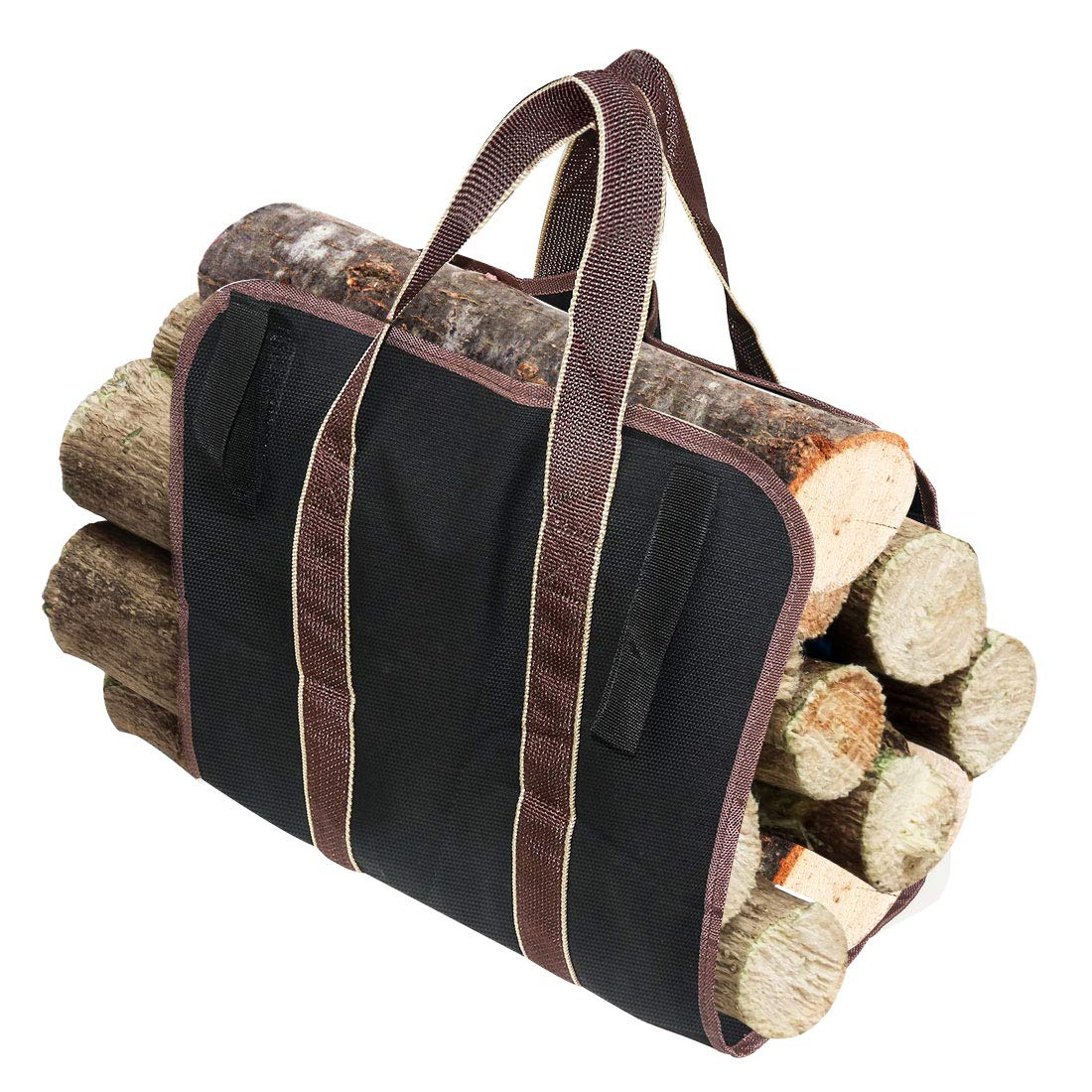 LingsFire Log Carrier Firewood Tote Wood Carrying Bag Fireplace 16oz Canvas Wood Tote Bag Extra Large Firewood Holder with Handles Fireplace Wood Stove Accessories for Camping Beaches (Black) by LingsFire (Image #1)