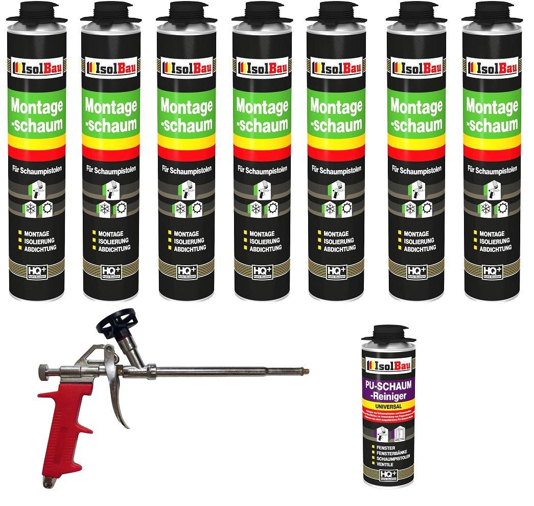 Juego Pistola de espuma 7 Botes de 750 ml Espuma de montaje 1 K Diseño Espuma de espuma de poliuretano + 1 limpiador + 1 pistola de espuma: Amazon.es: ...