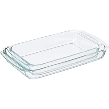 AmazonBasics Glass Oblong Oven Baking Dishes, Set of 2