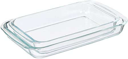 AmazonBasics - Paquete de 2 fuentes de horno alargadas de vidrio ...