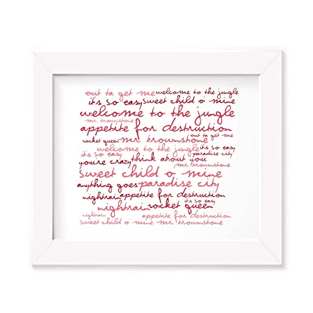 Appetite for Destruction Guns N Roses Poster Print Lyrics Gift Signed Art