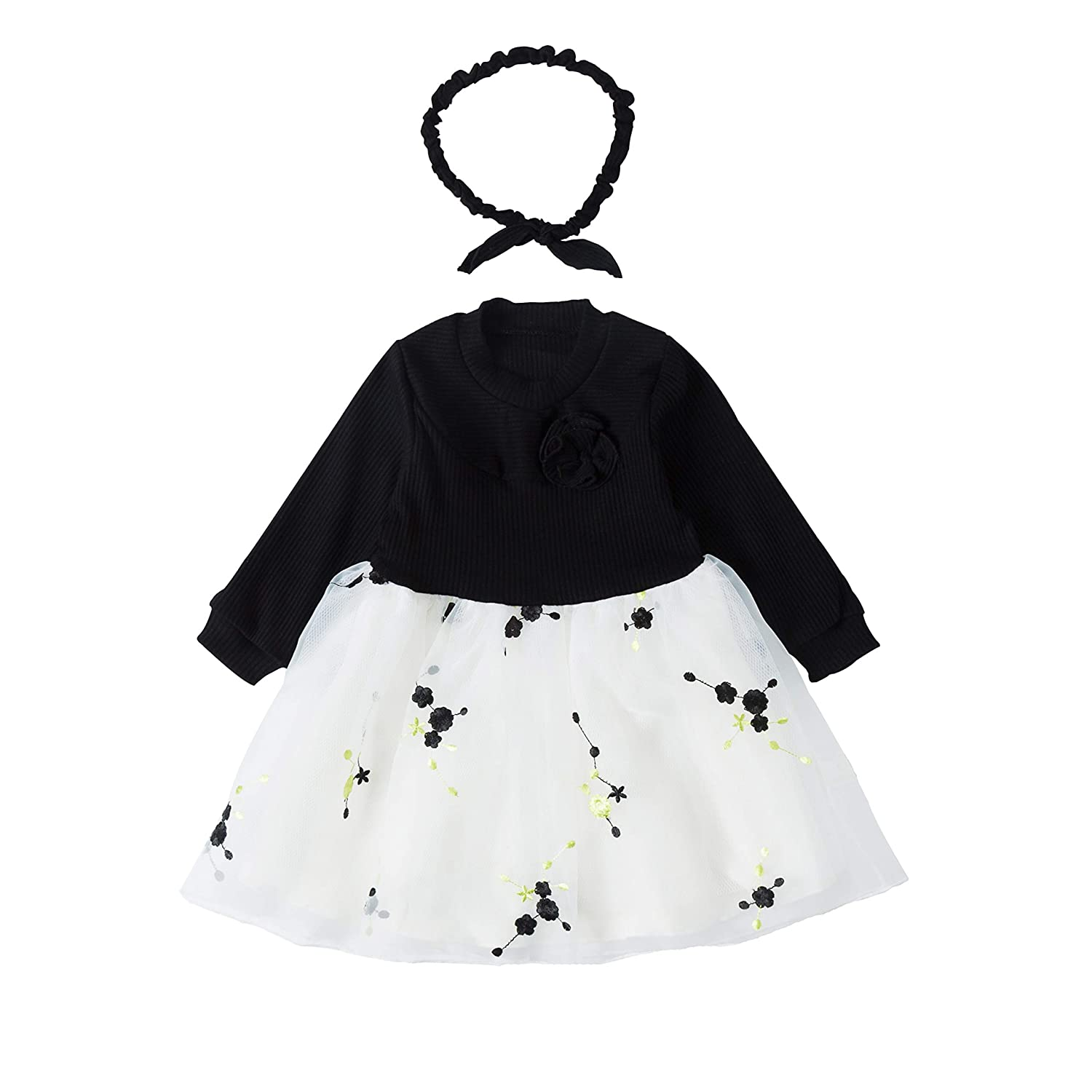 moxxbaby Baby Girls Toddler Dress Outfits Tutu Dresses Long Sleeve Cotton Flower Dress for Infant Babys