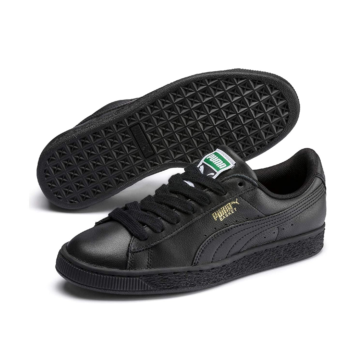 Black (Black-team gold) Puma Unisex Adults' Basket Classic LFS Low-Top Trainers