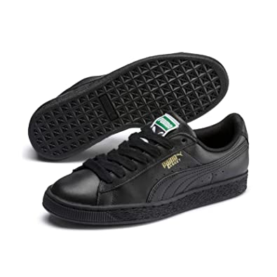 7f7d5d577f Puma Men's Basket Classic LFS Black and Team Gold Leather Sneakers - 10  UK/India
