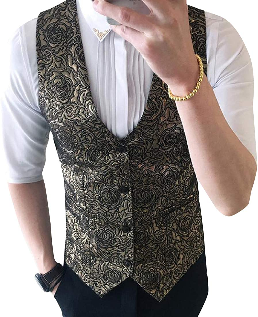 Whitive Men Regular Fit Floral Spring Button Front Formal Suit Vest
