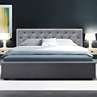 Double Bed Frame, Artiss Fabric Upholstered Bed Frame Base with Gas Lift Storage, Grey