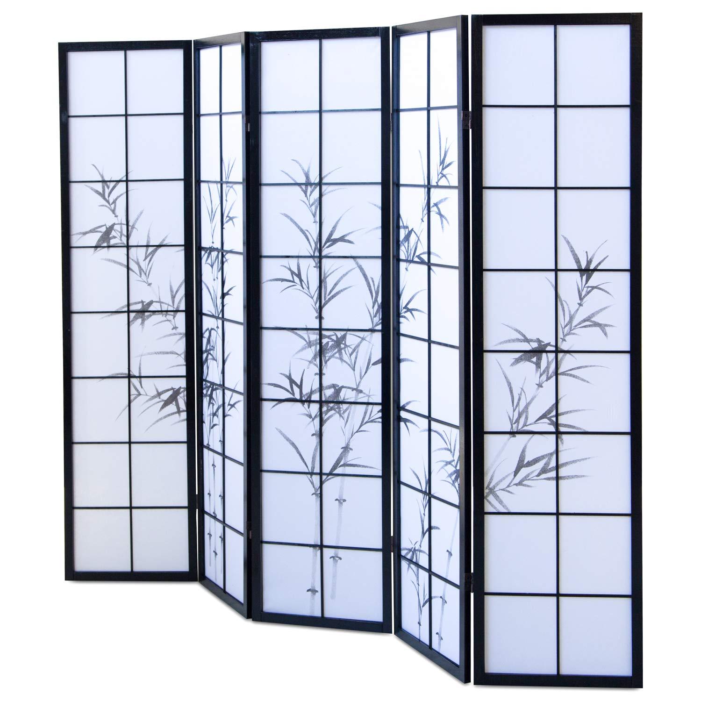 Paravent Raumteiler Trennwand Sichtschutz Spanische Wand Bambus schwarz 5teilig