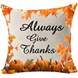 Autumn Fall Maple Leaf Pumpkin Happy Thanksgiving Gifts Always Give Thanks Cotton Linen Throw Pillow Case Cushion Cover Home Office Indoor Decorative Square 18 X 18 Inches
