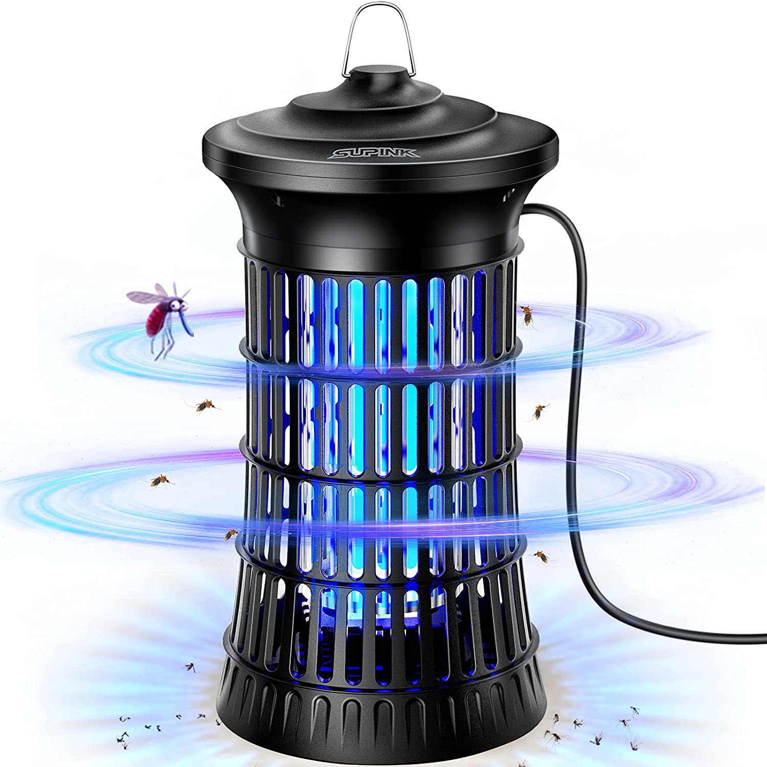 Supink Bug Zapper for Outdoor & Indoor, Electric Mosquito Zapper Fly Insect Killer Lamp (4200V High Powered), Waterproof Mosquito Traps with 18W Light Buld for Home, Garden, Backyard, Patio, Bedroom