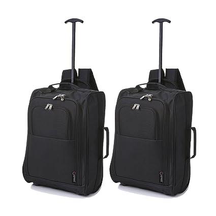 Cabin Trolley mochila de equipaje ligero equipaje de mano (2 x Negro)