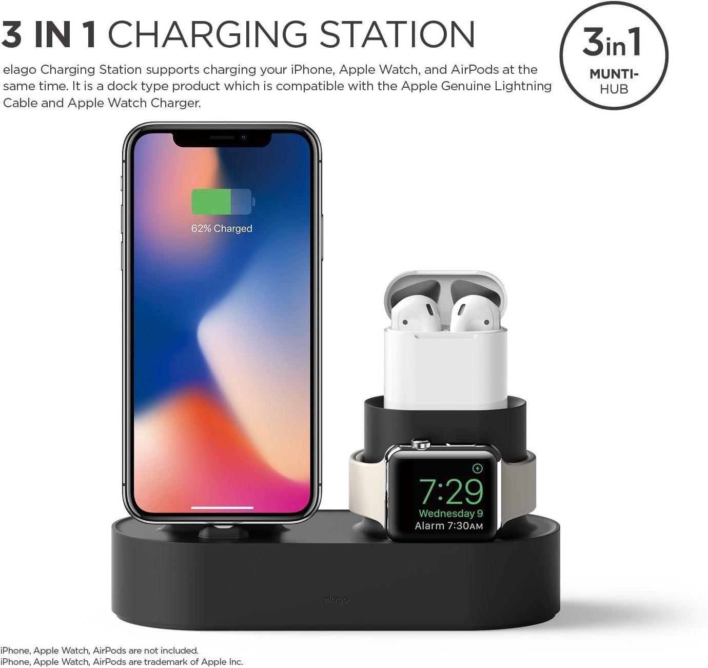 Amazon.com: elago - Base de carga 3 en 1 para iPhone X, 8, 8 ...