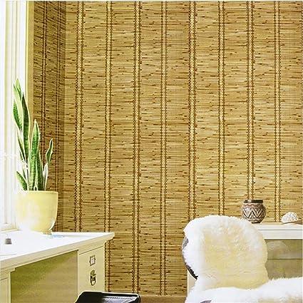 HM Papel pintado Retro Vintage Woodgrain Straw Pattern 3D Rollo de papel tapiz para la sala