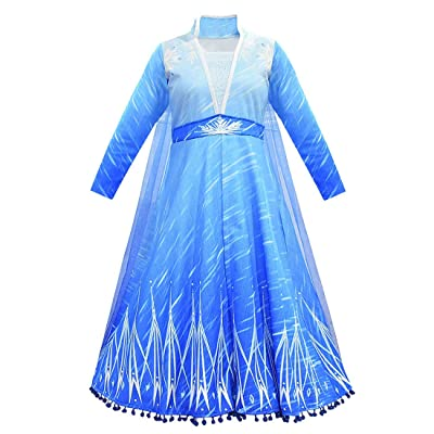 Fancy Elsa 2 Costume Kids Dress Princess Robe Birthday Carnaval Party Stage Show Dress Up with Long Cloak: Clothing