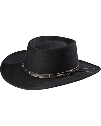 6be2e563a06 Amazon.com  Stetson Black Hawk Wool Felt Western Hat  Clothing