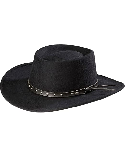 f670b211772 Stetson Men s Hawk Crushable Wool Gambler Hat - Swbkhk-7830 Black ...