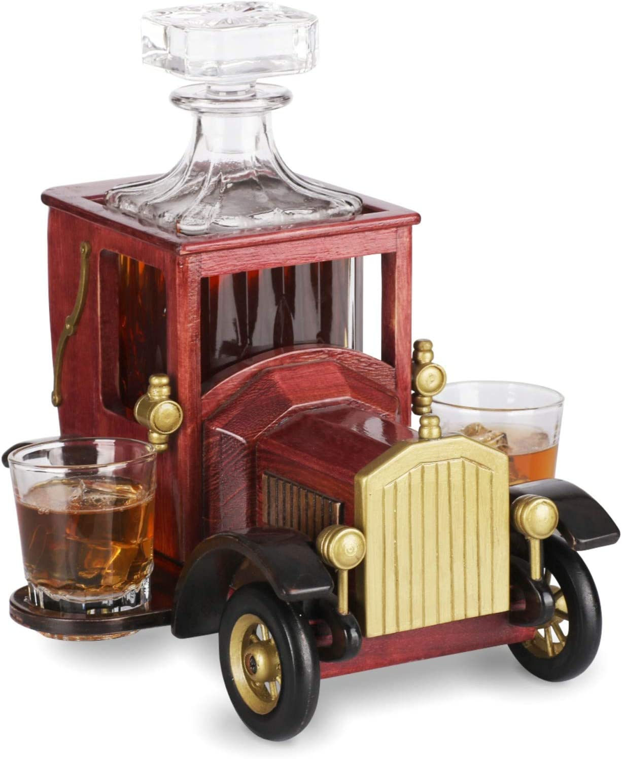 Whiskey Decanter Set NEW 2020 Gift with Crystal Glasses and Old Fashioned Vintage Car Stand - Personalized Gift Set for Men, Dad, Husband, Brother, Boss - Bar Accessories for Liquor, Scotch
