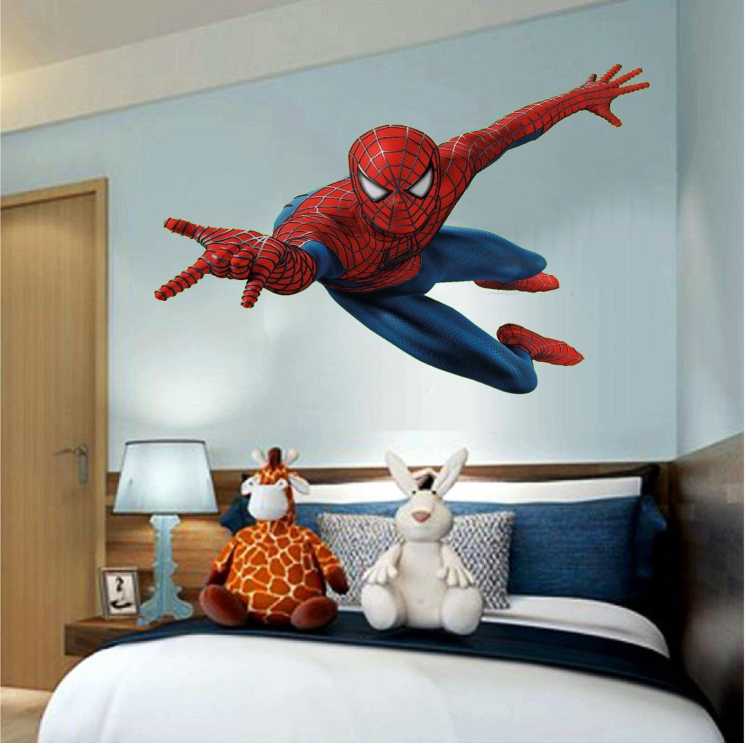 Spiderman hanging on wall 3d wall decal sticker giant 18 24 36 or 52