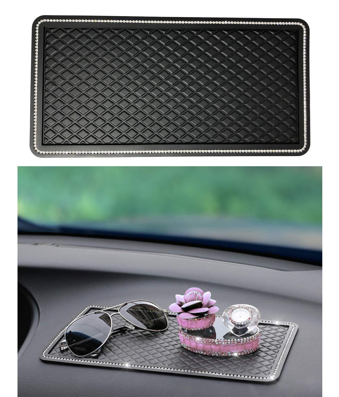 Car Dashboard Crystal Rhinestone Mat High Temperature Resistant Anti-Slip Pad for Mobile phones, Sunglasses, Keys, etc. - BLACK (11.5'' x 5.75'') by iBeamax