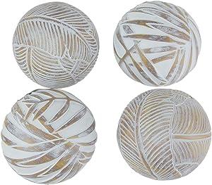 Mayrich Whitewashed Tropical Leaf Wood Look Decor Balls Set of 4