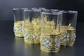 Juego de tazas de té y café doradas árabe turco/plata