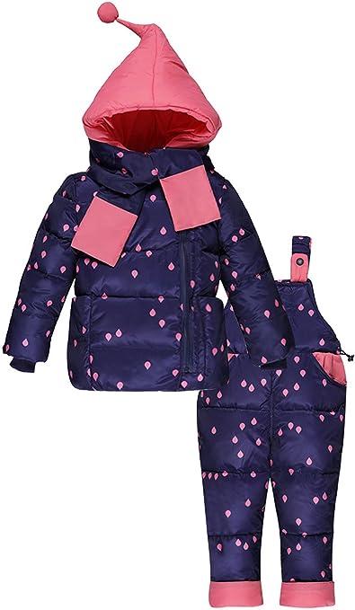 Zoerea Mädchen Junge Süß Daunenjacke Punkte mit fest Kaputze mit Daunenhose und Daunenschale 3tlg. Bekleidungsset