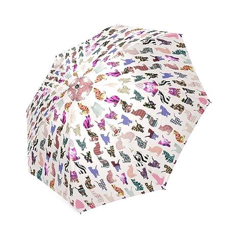 Girly gatos en azteca/Floral/leopardo/Chevron Pattern Cheap compacto sombrilla paraguas,