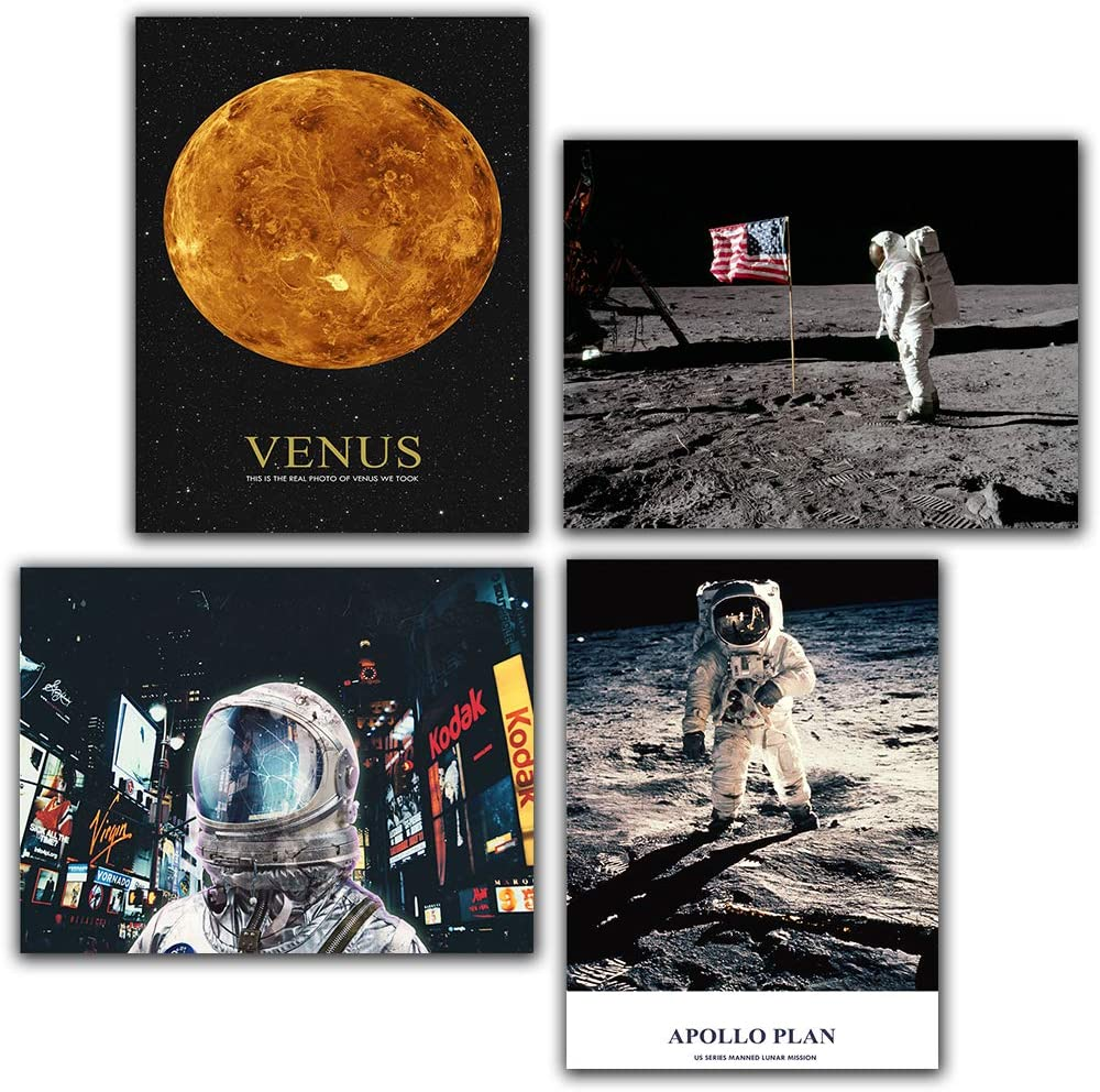 """Nordic Sci-fi Space Earth USA Astronaut Venus Apollo Plan Wall Art Canvas Poster Print Painting Wall Figure Pictures for Living Room décor 8""""x10"""" Unframed Set of 4 Prints"""