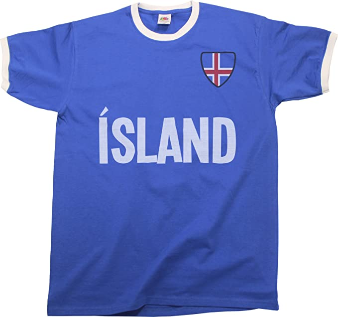 Buzz Shirts Mens Island Iceland Country Name Ringer Retro T-Shirt Camiseta para Hombre Sports