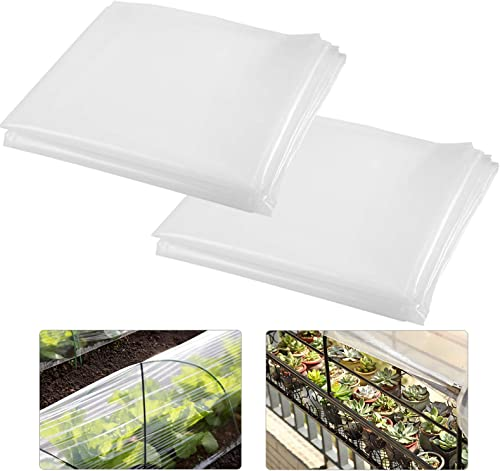 ANPHSIN Pack of 2 Clear Greenhouse Film- 78.74 78.74 inches 12 mil Thickness Garden Clear Polyethylene Plastic Covers for Greenhouse Plants Windproof Frost Dust Proof