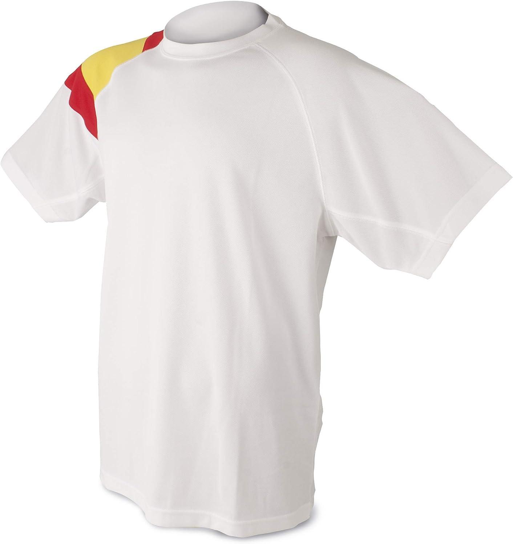Camiseta Bandera D&F-Camiseta Blanca con los Colores de España: Amazon.es: Ropa y accesorios