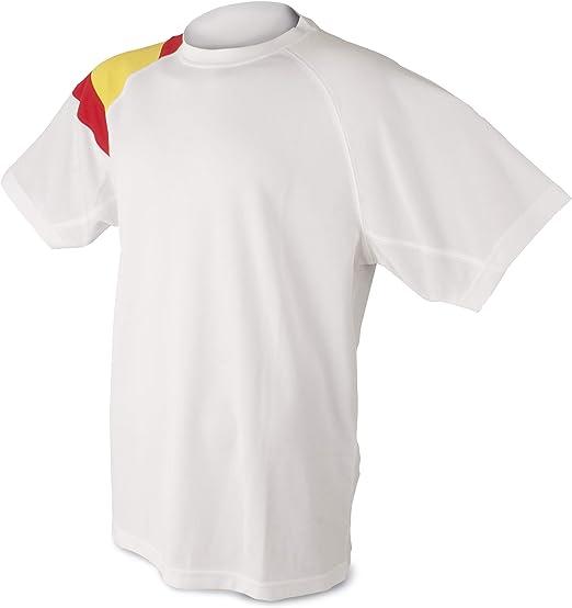Camiseta Bandera D&F-Camiseta Blanca con los Colores de España ...