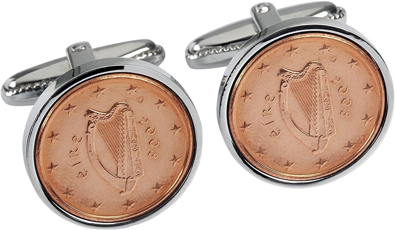 Worldcoincufflinks - Cufflinks - Rhodium plated - 12th Wedding Anniversary for Men- 2008 Copper Coins Cufflinks