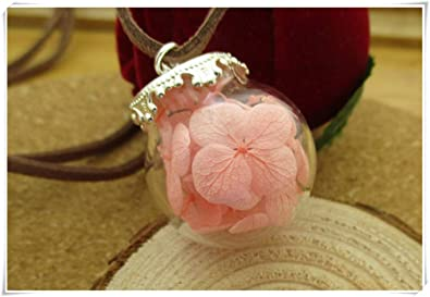 Amazon Com Sea Maiden Pink Flower Petals Necklace Glass Terrarium