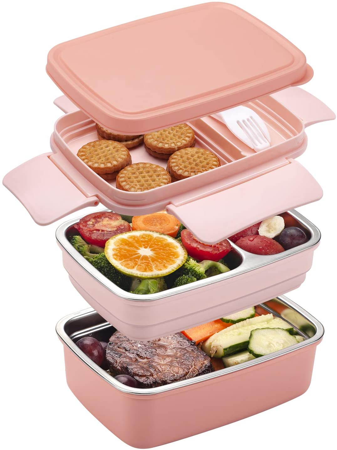 Freshmage Stainless Steel Bento Box for Adults & Kids, Leakproof Stackable Large Capacity Dishwasher Safe Lunch Container with Divided Compartments, Pink
