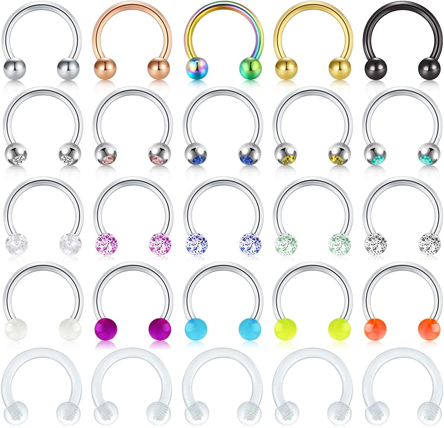 AceFun 24-25Pcs 16G Septum Nose Rings Hoop Horseshoe Barbell Surgical Steel Lip Labret Helix Tragus Conch Cartilage Earrings Hoop Piercing Jewelry for Women Men
