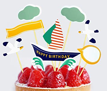 Phenomenal Buy Amfin Happy Birthday Cupcake Toppers For Birthday Decor Party Funny Birthday Cards Online Inifofree Goldxyz