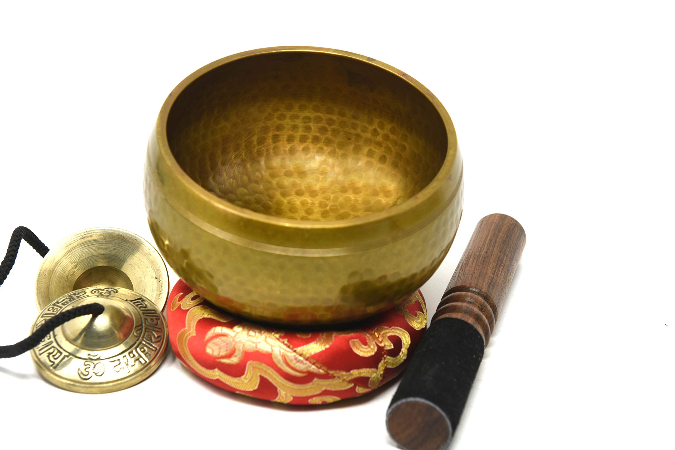 5.5'' Energetic Chakra Healing Yoga Hand Hammered Tibetan Singing Bowl- Including Tingsha Cymbels Mallet and Cushion Made in Nepal