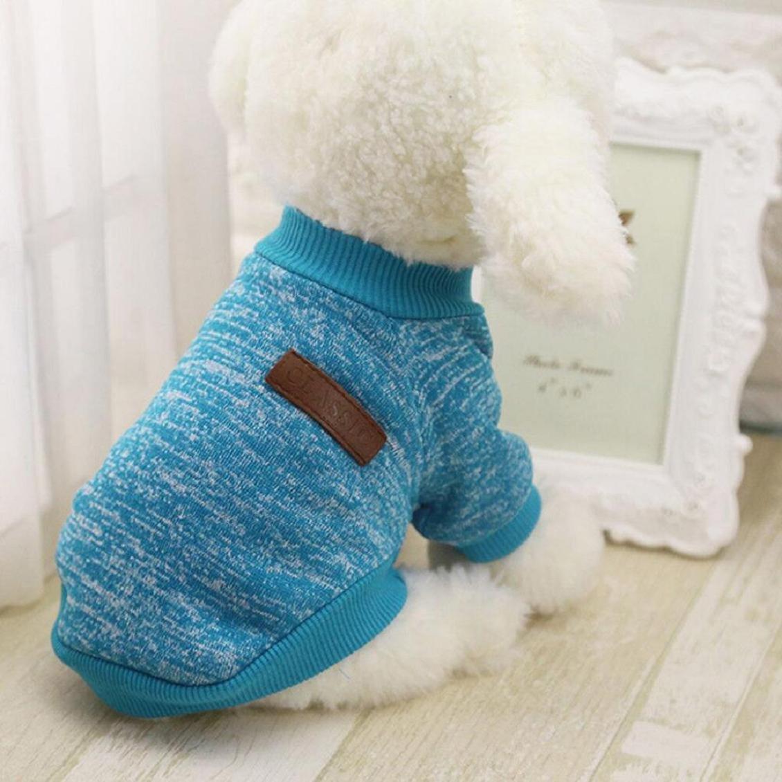 Familizo dog clothes,11 Color Pet Dog Puppy Classic Fleece Clothes Warm Sweater