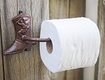 Cowboy Boot Decorative Toilet Paper Holder Cast Iron Wall Mounted Toilet Tissue Holder Rustic