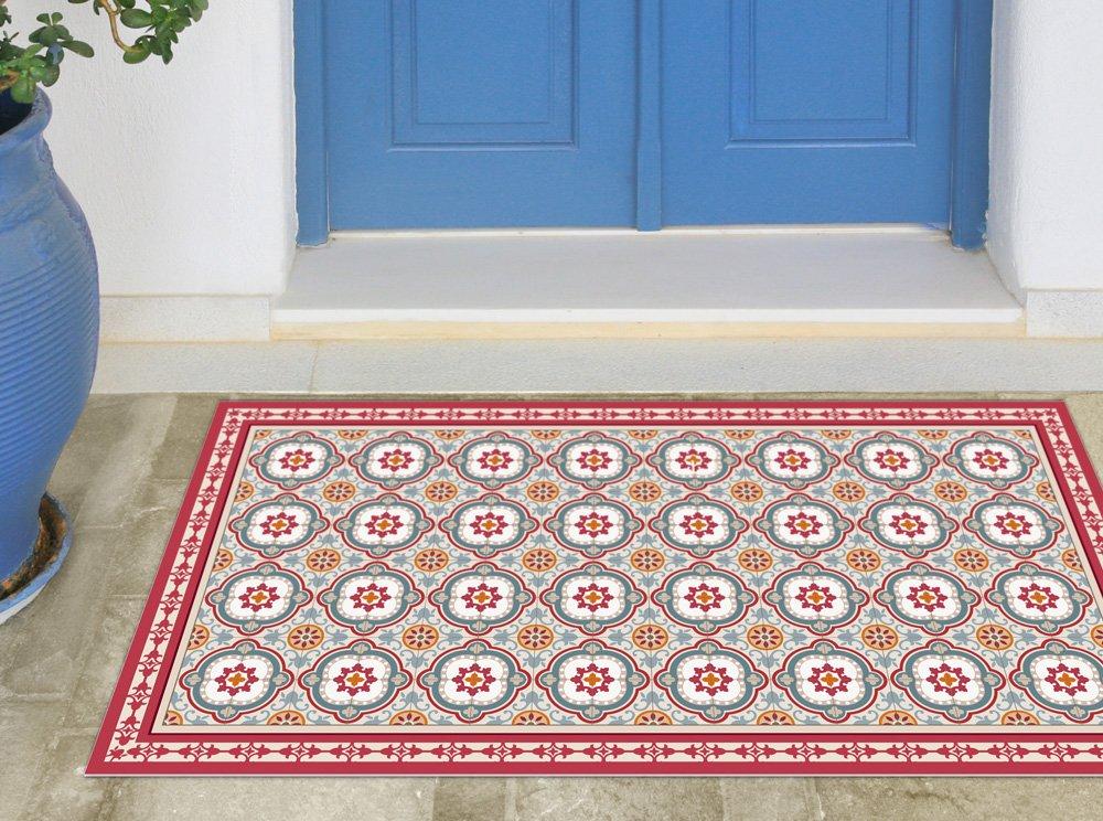 Vinyl vintage mat with beige tiles. linoleum area rug, PVC floor mat.