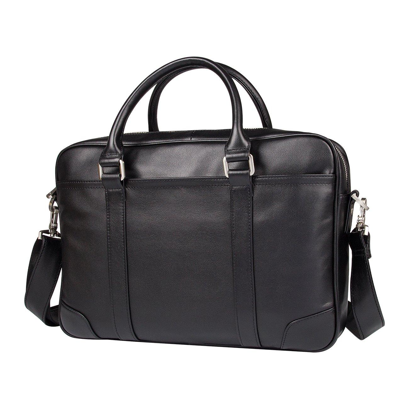 Mens Briefcase Leather Laptop Messenger Bag Tote Bag Organizer For 15 Laptop