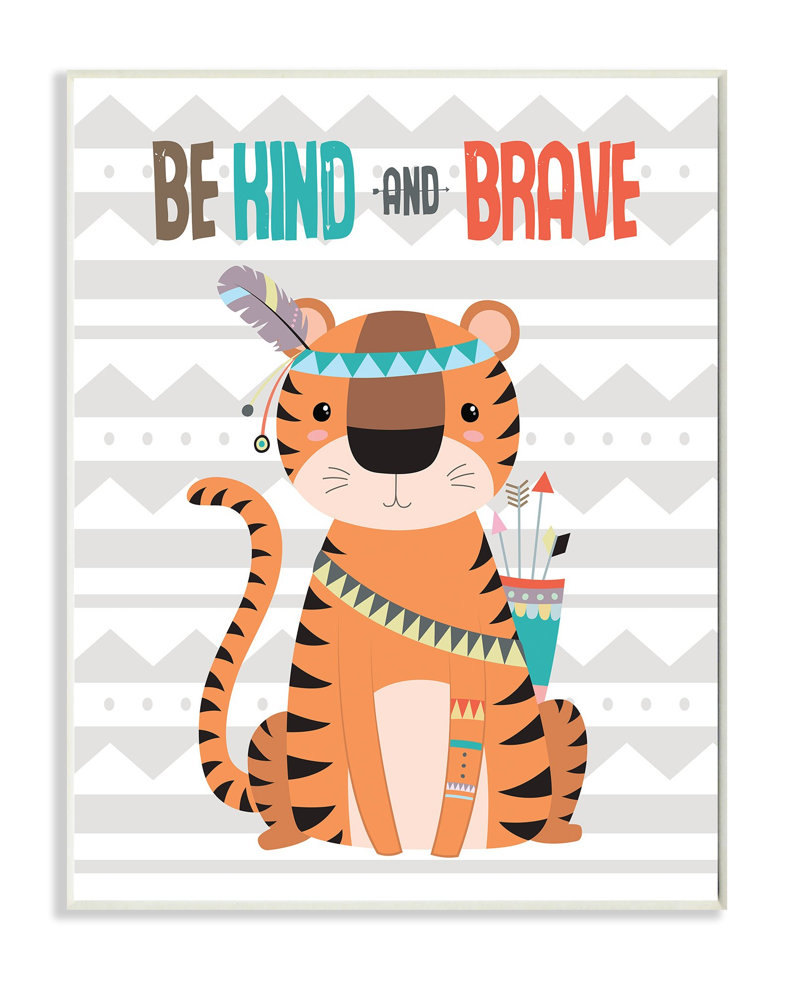 Stupell Home Décor Be Kind and Brave Boho Tribal Tiger Wall Plaque Art, 10 x 0.5 x 15, Proudly Made in USA by The Kids Room by Stupell