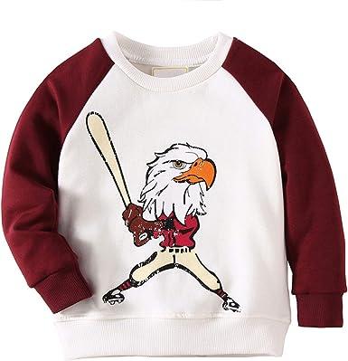 HUAER/& Baby Boys Crewneck Cotton Long Sleeve Pullover Sweatshirt