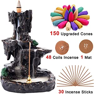 Rongyuxuan Backflow Incense Holder Waterfall Incense Burner, Mountain Tower Censer Aromatherapy Ornament Home Decor with 150 Backflow Incense Cones,48 Incense Coils,30 Incense Sticks,Mat