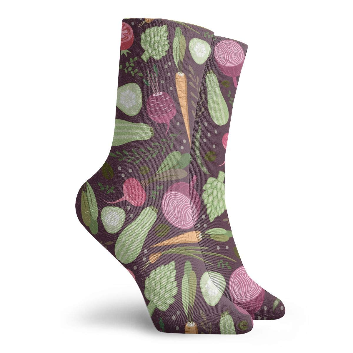 Women Men Vegetables Pattern Cushion Crew Socks