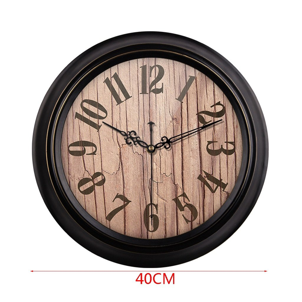 HAOFAY Mute Wall Clock, Vintage Pattern Arabic Numerals Round Clock (vintage) ( Size : 16 inches/40 cm ) by CLOCK (Image #2)