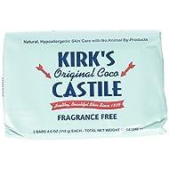 Kirk's Original Coco Castile Soap Fragrance Free 4 oz, Pack 18